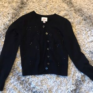 Justice girls black beaded cardigan size 8